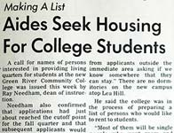 50 years ago this week at Green River: Aides Seek Housing for College Students