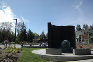 A view of our water wall and Kennelly Commons