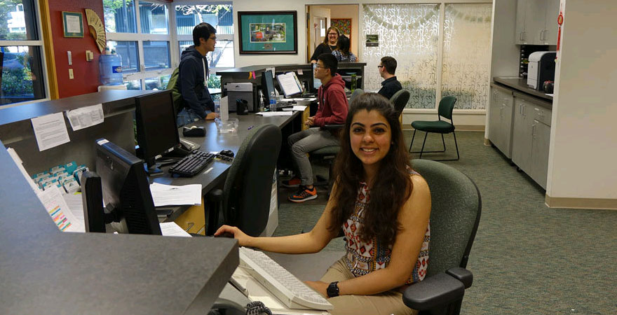 Mamta Melwani works at the front desk in the International Programs Office