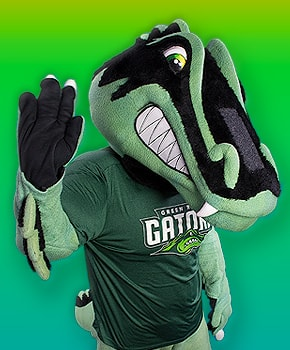 photo of Green River College mascot Slater the Gator waving to the viewer.