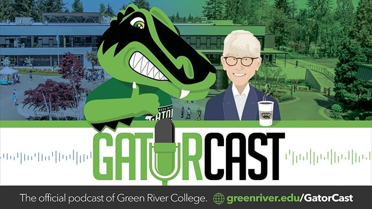 Digital slide promoting Green River College's GatorCast podcast.