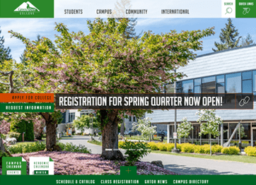 Image of Green River College's website landing page.