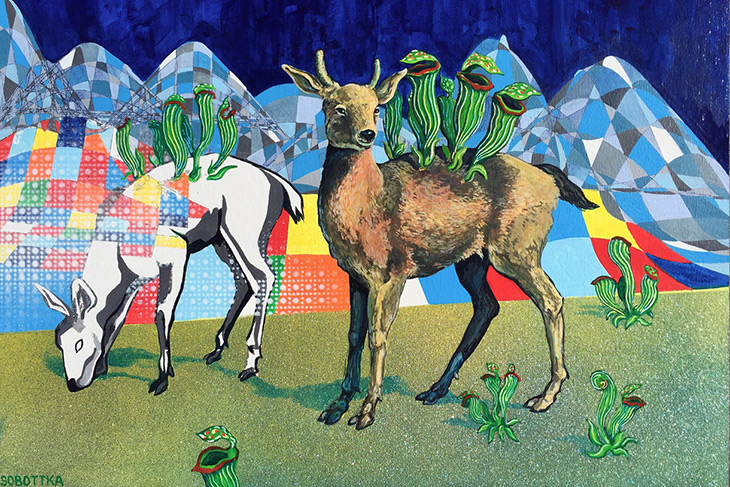 "Fawns with Pitcher Plants, Acrylic on panel, 12 x 16"" by Jason Sobottka"