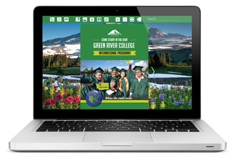 image of a laptop with the Green River College International Programs eBrochure on the screen