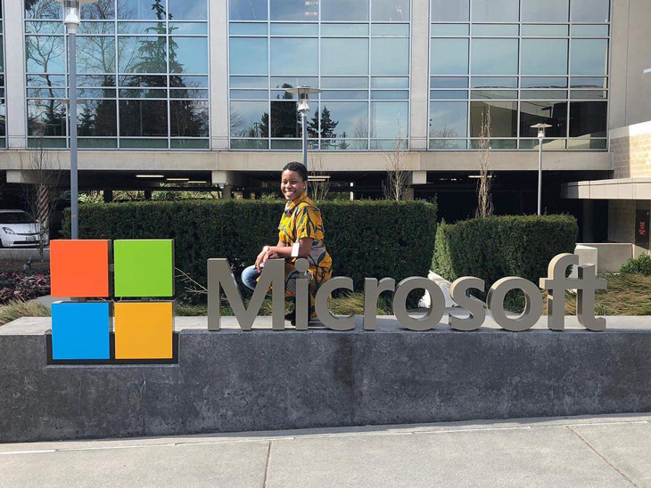 Andile Mpofu sits outside Microsoft in Redmond.