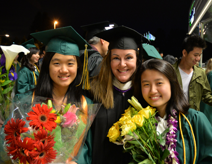 Stephanie Scoby with successful graduates from Japan and South Korea on commencement day