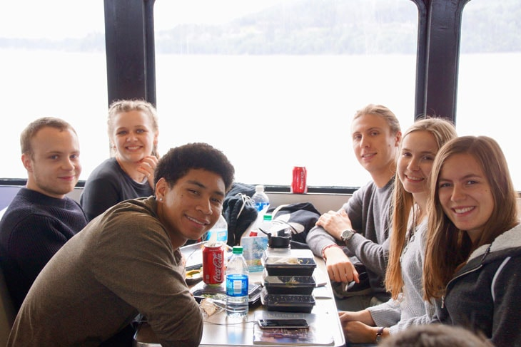 Green River College students on the ferry to Friday Harbor.