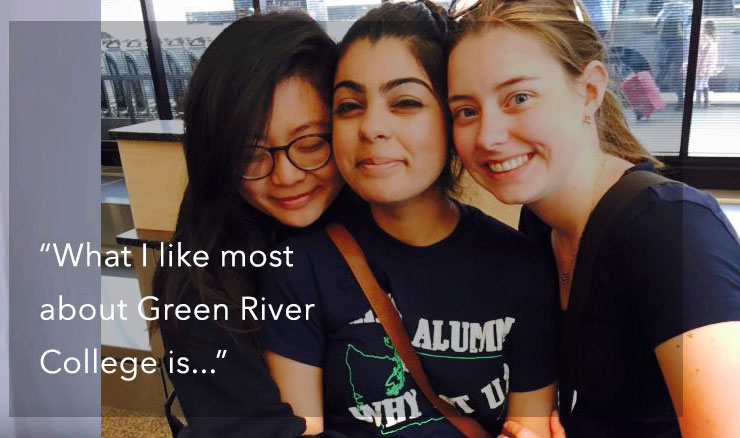 photo of Green River College students with the quote