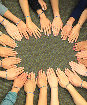 A circle of hands. 2015 SUSI participants.