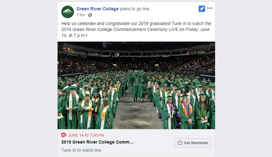 Screenshot of FB post advertising Commencement livestream at 7 p.m.