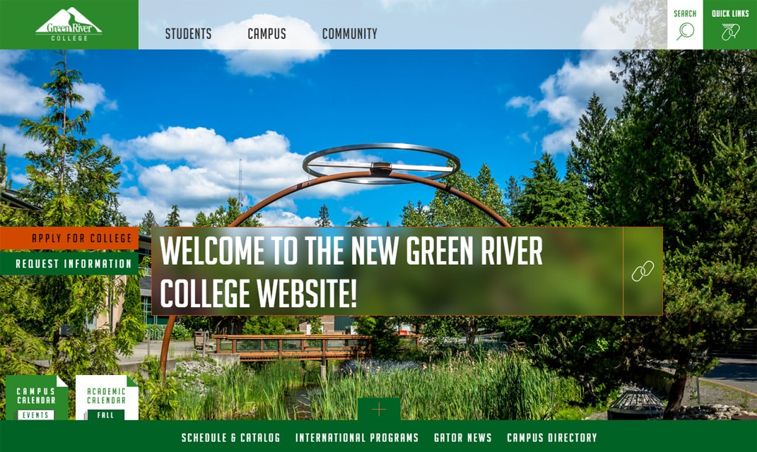 image of Green River College's new website