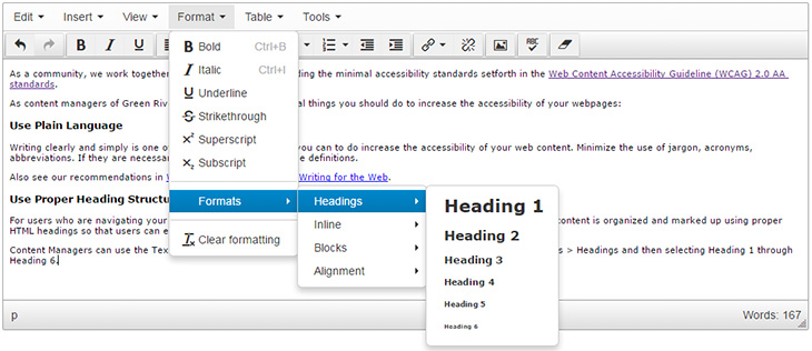 image showing how to select headers in the CMS editor