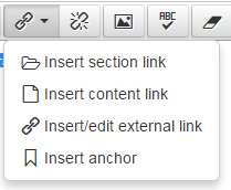 image showing how to select link types in the CMS editor