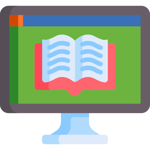An opened book displayed on a computer screen as a stylized graphic.