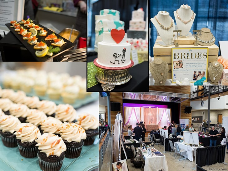 collage image of appetizers, cupcakes, wedding cakes, bridal jewelry, and event show space