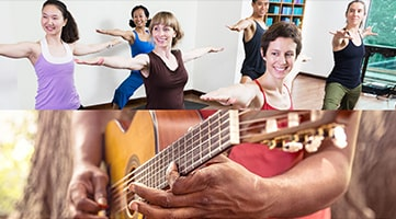 A group of individuals participating in a yoga class and a close up of a person practicing the guitar.