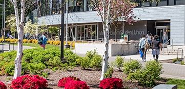 Green River College campus pathways and garden areas during the spring season.