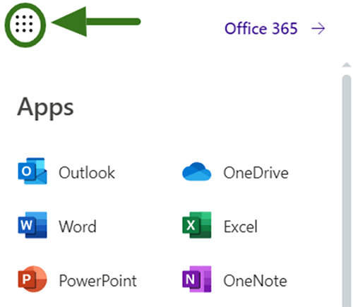 Screenshot showing where to click in Office 365 to open the Apps menu.