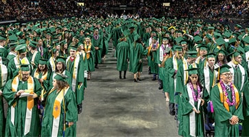 photo of Green River College graduates at their commencement ceremony