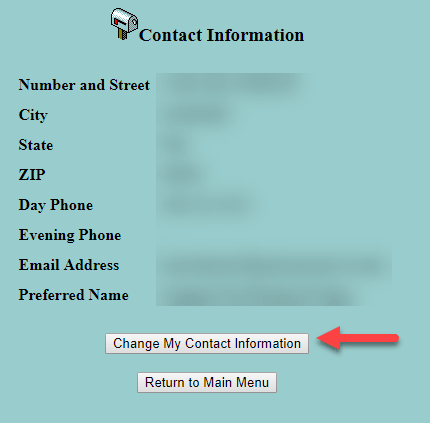 screenshot from the Student Contact Information page, with a red arrow pointing to the