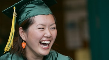 photo of a Green River College graduate smiling