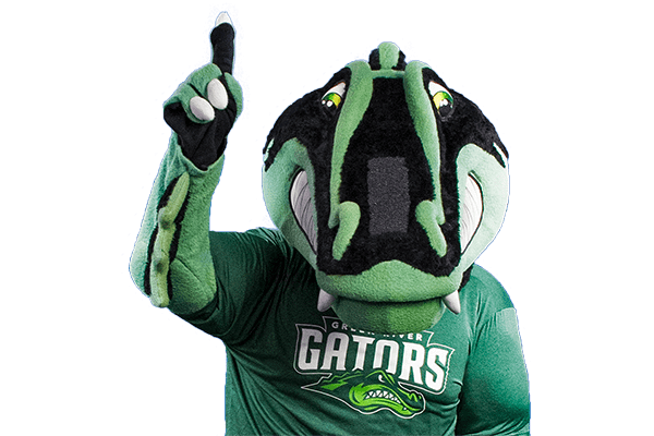 photo of Green River College mascot Slater the Gator holding 1 finger up in a