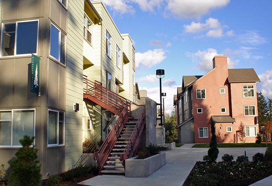 photo of a Campus Corner Apartment building and pathway