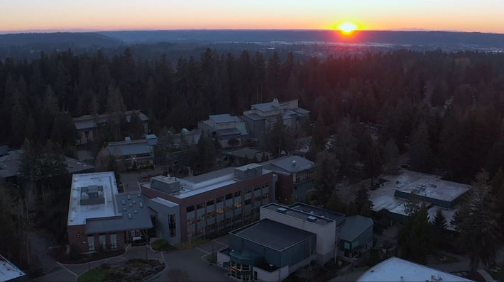 Aerial view of Green River College's main campus during sunset.